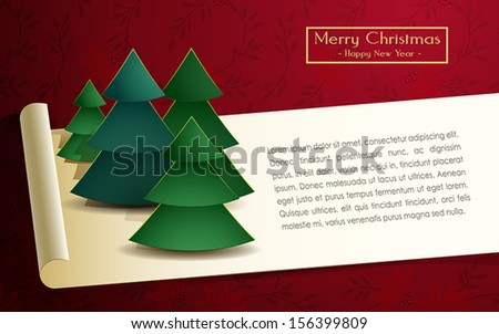 Christmas card with trees vector illustration