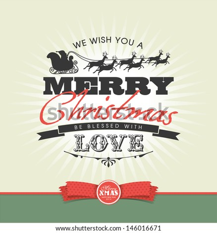 Christmas card with typography design - stock vector