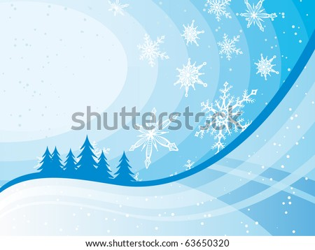 Christmas card with white snowflakes and blue background
