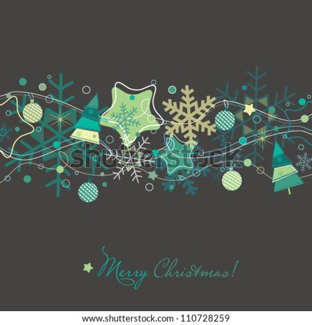 Christmas card with Xmas tree,snowflakes and decorations - stock vector