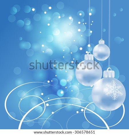 Christmas card. Xmas balls on blue background. Christmas wallpaper, Christmas baubles, Xmas lights, Vector - stock vector