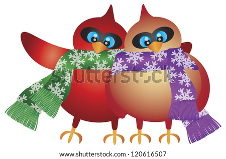 Christmas Cardinal Male and Female Pair with Snowflakes Scarf Illustration Isolated on White Background Vector