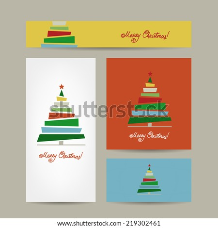 Christmas cards collection for your design - stock vector