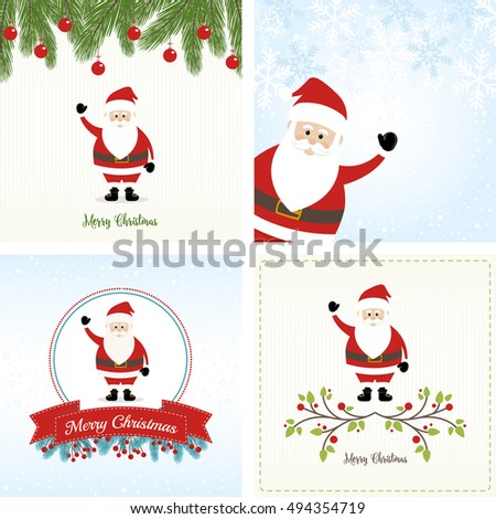 Christmas Cards Set with Santa Claus