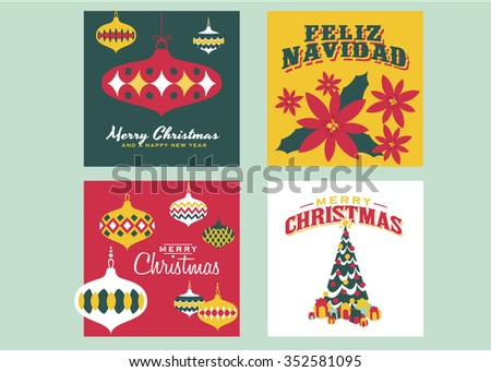 Christmas Cards templates / Collection of 4 vintage christmas cards. Each card consists of EPS vector file - stock vector