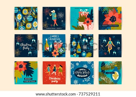 Christmas cards with dancing women and New Year's symbols. Trendy vintage style. Retro party. Vector design for poster, card, invitation, placard, brochure, flyer.
