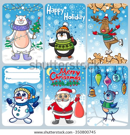 Christmas cards with funny personages