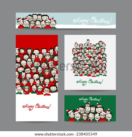 Christmas cards with people crowd for your design. Vector illustration - stock vector