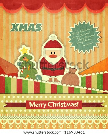 Christmas cards with Santa, Christmas tree and text Merry Christmas - greeting postcard in Retro style - vector illustration - stock vector