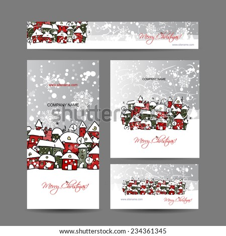 Christmas cards with winter city sketch for your design - stock vector