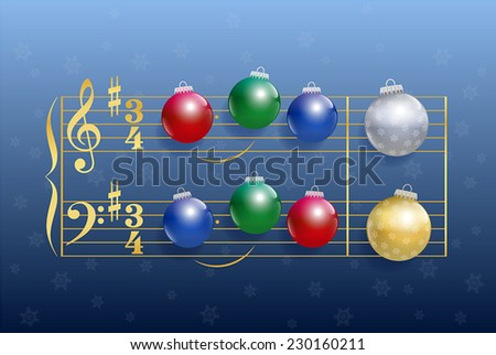 Christmas carol composed of colorful shiny christmas tree balls instead of notes. Isolated vector illustration on blue gradient snowfall background. - stock vector
