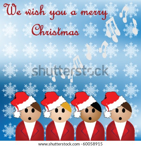 Christmas carol singers against a snowy background - stock vector