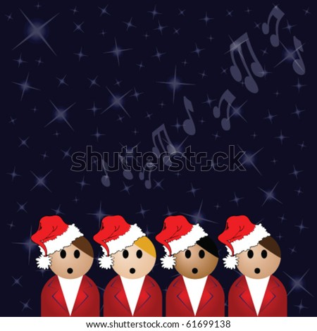 Christmas carol singers against a star covered night sky - stock vector