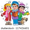 Christmas carol singers theme 1 - vector illustration. - stock vector