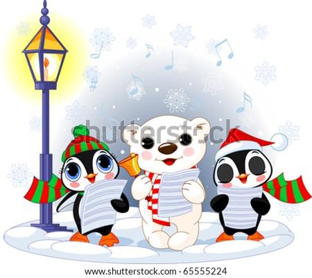 Christmas carolers. Cute polar bear and two penguins under streetlight - stock vector