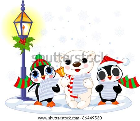 Christmas carolers ? cute polar bear and two penguins- under streetlight - stock vector