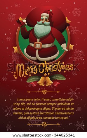 Christmas cars with red background with snowflakes. Round gold emblem with stars and Cute Santa Claus holding a red bag on the top and your text on below, vector - stock vector
