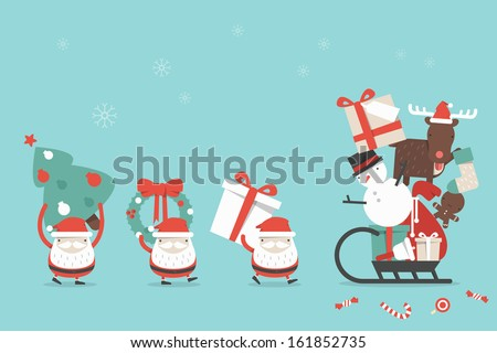 Christmas cartoon background, vector - stock vector