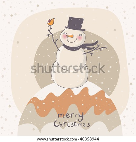 Christmas cartoon background with funny snowman - stock vector