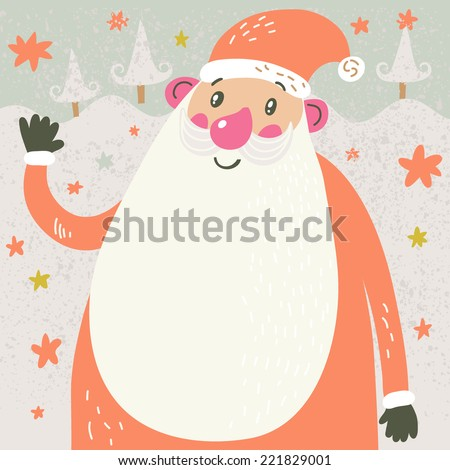 Christmas cartoon card with Santa. Funny Santa Claus under the snowfall in cute childish style - stock vector