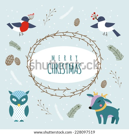 Christmas cartoon characters, owl, birds, deer vector set. Merry Christmas and holidays wish Vector illustration.