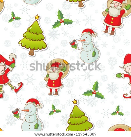 Christmas cartoon characters seamless pattern with Santa Claus, elf and snowman on winter snowflakes background - stock vector