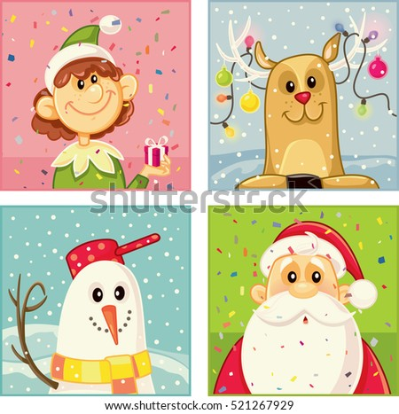 Christmas Cartoon Characters Vector Set - Illustration of Santa Claus, a reindeer, a snowman and an elf