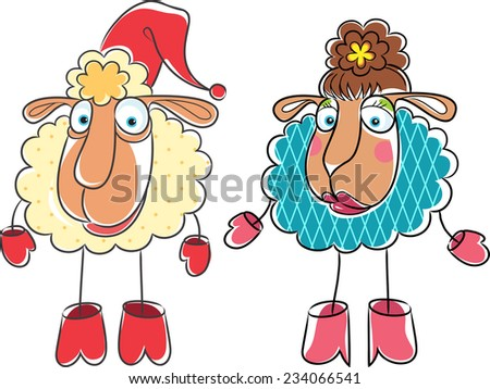 Christmas cartoon drawing ram and sheep. - stock vector