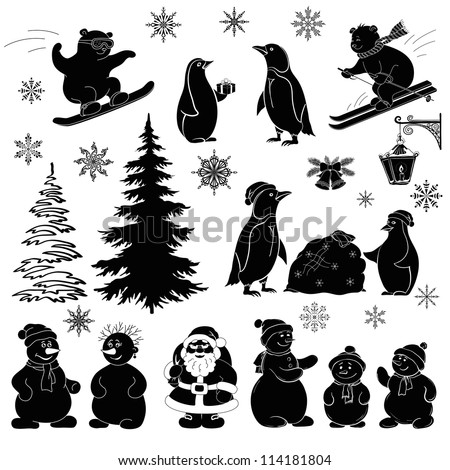 Christmas cartoon, set black silhouettes on white background: Santa Claus, fir tree, teddy bears, penguins, sportsmans, snowflakes, lantern. Vector