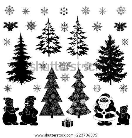 Christmas cartoon, set black silhouettes on white background, Santa Claus, fir trees, snowflakes, snowman and various holiday objects and symbols. Vector - stock vector