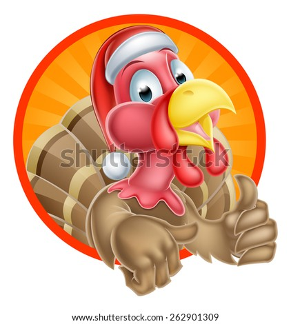 Christmas cartoon turkey mascot giving a thumbs up and wearing a Santa hat - stock vector