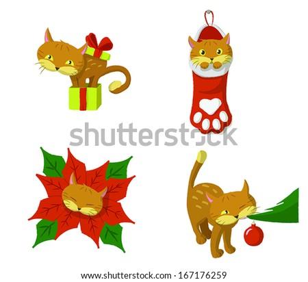 CHRISTMAS CAT - stock vector