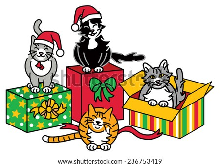 Christmas Cats illustration of a group of cats with gifts. - stock vector