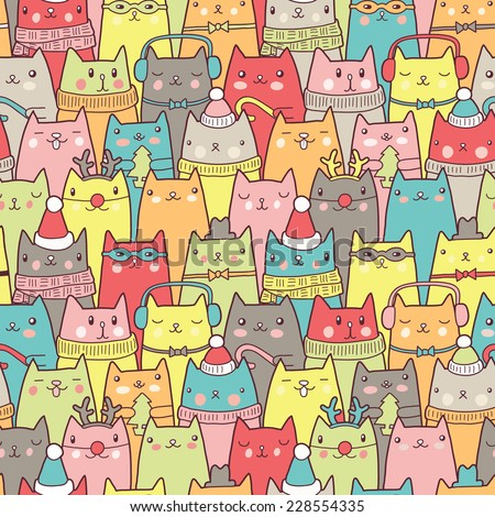 Christmas cats seamless pattern - stock vector