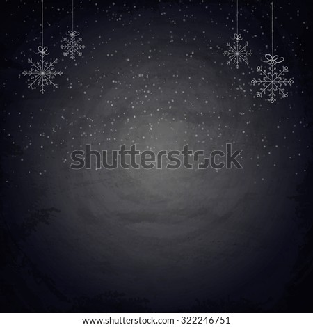 Christmas chalkboard background with snowflakes. Vector illustration - stock vector