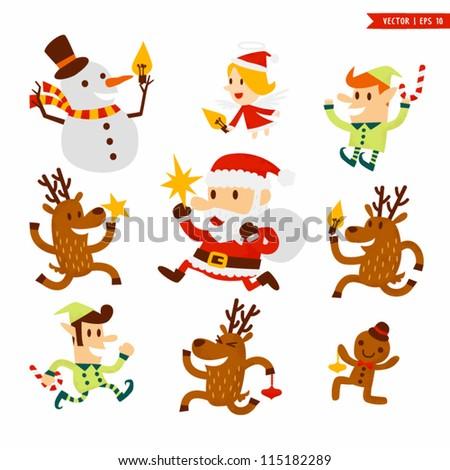 Christmas character set - stock vector