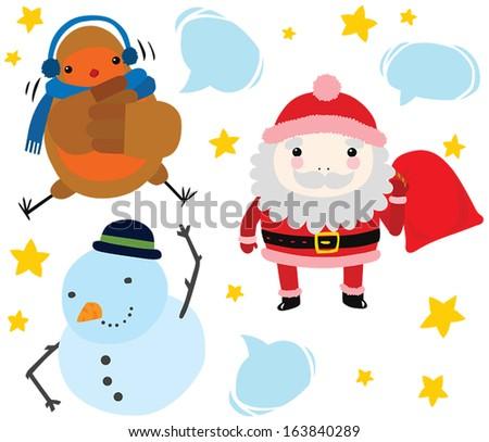 Christmas Character Set: Santa, Robin and Snowman - stock vector