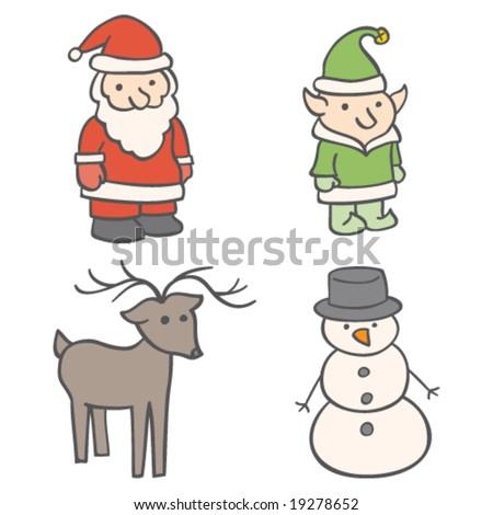 Christmas Characters - stock vector