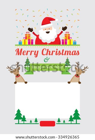 Christmas Characters Frame, Santa Claus with Gift boxes and Reindeer Show Blank Sign