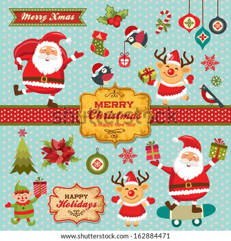 Christmas characters, labels, icons elements collection - stock vector