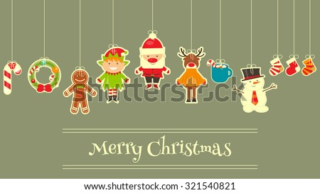 Christmas characters on Greeting Card. Santa Claus, Snowman and Deer. Vector Illustration. - stock vector
