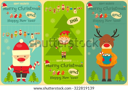 Christmas characters on Greeting Card. Santa Claus, Snowman and Deer. Vertical Format. Vector Illustration. - stock vector