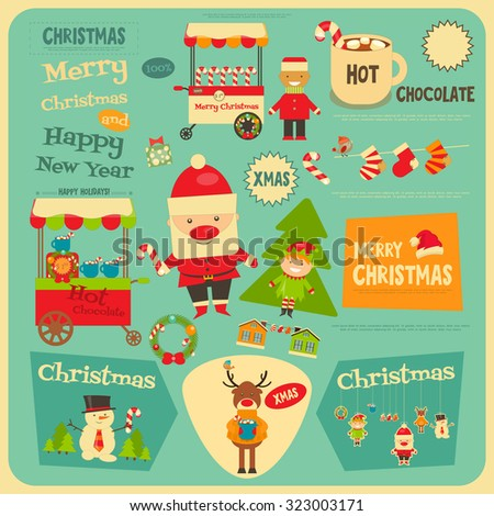Christmas characters on Greeting Postcard. Santa Claus, Snowman and Deer. Vector Illustration. - stock vector