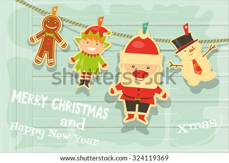 Christmas Characters on Rustic Wooden Background. Santa Claus, Snowman and Christmas Elf. Vector Illustration. - stock vector