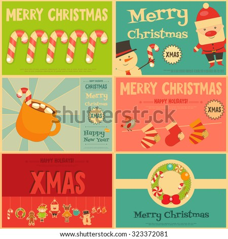 Christmas characters on Stickers. Set of Cute Christmas Mini Posters. Vector Illustration. - stock vector