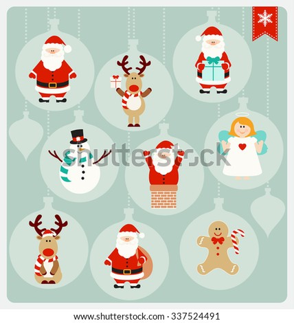 Christmas Characters - Santa Claus, Angel, Reindeer, Snowman, and Christmas Cookie in cute globe decorations - stock vector