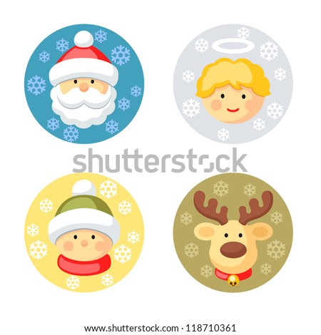Christmas characters set - stock vector
