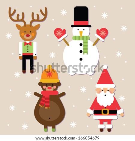 christmas characters set  - stock vector