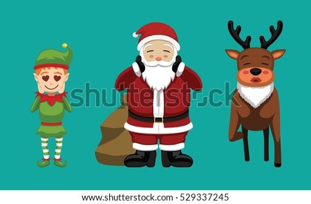 Christmas Characters Set Cartoon Vector Illustration 9