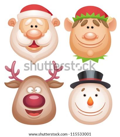 Christmas characters set - Santa, Elf, Deer, Snowman. - stock vector